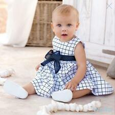 Baby Toddler Child Top Bow-knot Plaids Dress Outfit Clothes Kid Girl Cotton 0-3Y