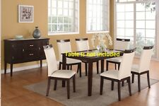 Set of Dining Chairs Upholster Parsons Dining room Chair Cream Faux Leather