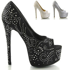 LADIES SATIN DIAMANTE HEELS WOMENS PLATFORM BRIDAL WEDDING PROM PARTY SHOES SIZE