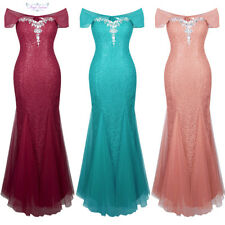Angel-fashions Lace Floral Halter Mermaid Beading Long Wedding Party Dress 200