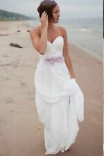 New Chiffon Sweetheart Sexy Beaded Beach White Ivory  Wedding Dress Bridal Gowns