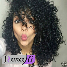 7A Curly Wave 100% Indian remy human women hair full/front lace wig  baby hair