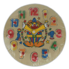 Clown Learning Clock - Wooden Puzzle Jigsaw Child Kids Sorting Fun Educational