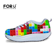 Women Lady Colorful Fitness High Platform Creeper Wedge Athletic Sneaker Shoes