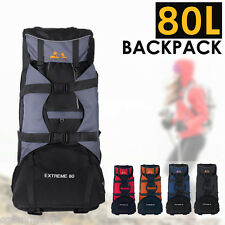 80L Outdoor Deluxe Extra Load Hiking Backpack Rucksack Bag Camping Travel AU