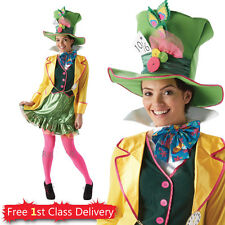 Adult Disney Ladies Mad Hatter Official Costume Wonderland Fancy Dress 6-18