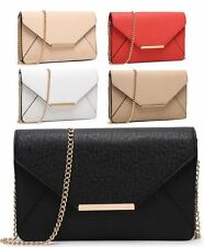 WOMENS NEW FAUX LEATHER GOLD CHAIN CLUTCH EVENING PARTY PURSE BAG2M0100010