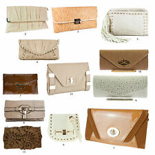 New Beige Cream Tan Clutch Bags Snake Patent F Leather Suede Designer Evening