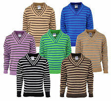 Boys Jumper Top Lightweight X Over V Neck Stripe 2 to 10 Years (7 Colours)