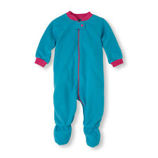 NWT Childrens Place Footed Light Blue/Pink Blanket Microfleece Sleeper Pajamas