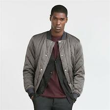 ZARA Man Authentic BNWT Grey Quilted Bomber Jacket Stud Closure RRP GBP 59.99