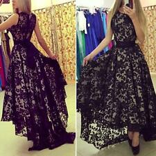 Women Girl Formal Evening Party Ball Gown Prom Bridesmaid Long Lace Floral Dress