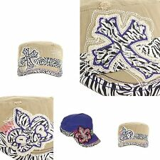 Cap Rhinestones Cross Fleur De Lis Zebra Embroidery Vintage Torn Stitch Fashion