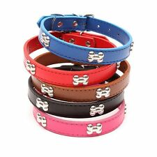 Small Dog Adjustable Leather Collar Bone Pet Cats Neck Studded Strap Buckle Gift