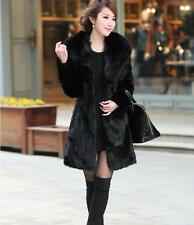 100% Real Genuine Rabbit Fur With Fox Collar Long Jacket Coat Outwear Vinage -