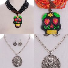 Necklace Sugar Skull Earrings Clay Flower Beaded Multi Layer Faux Suede Embossed