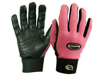 "1 Pair Bionic Womens Gardening Gloves - ""Bloom"" Mesh Back w/Leather Palm - Pink"