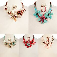 Necklace Flower Large Faux Pearl Turquoise Matching Earrings Set Petals Chic