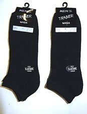 Mens Trainer Ankle Black Socks with Elastane - 6 OR 12 PAIRS - 6-11 EUR 39-45