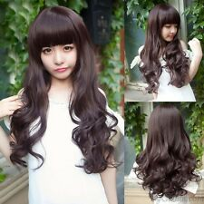 New Sexy Girl Fashion Long Wavy Curly Hair Cosplay Party Bang Full Wigs