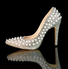 Marc Defang Pointed Toes Crystal Spike Pumps, pageant prom, sparkle heels,