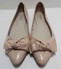 All Black Women's Light Pink Patent  Bow Accent Pointy-Toe Flats Sz 40.5/ 9.5