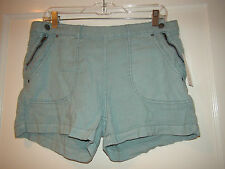 Free People Linen Blend Shorts Seaglass Green F773P620 NWT $78 Sz 10 Women's