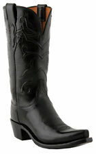 Lucchese N4754 S54 Womens Black Buffalo Leather Western Cowboy Boots