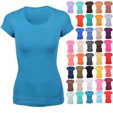 "Women Basic Plain T-Shirt Crew Neck Stretch Short Sleeve 26"" Long Tee Shirt Top"