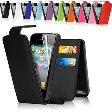 PU LEATHER FLIP CASE COVER FOR Apple iPhone Mobile + FREE SCREEN PROTECTOR