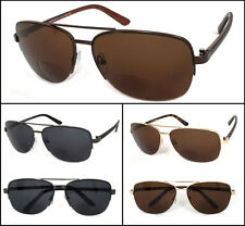 Retro Men Aviator 60mm Bifocal Tinted Semi Rimless Sun Reader Reading Sunglasses