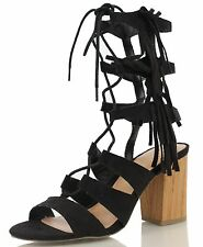 Wild Diva Women's Susie 08 Black Open Toe Gladiator Lace Up Mid Calf Chunky Heel