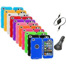 Deluxe Hybrid Case Cover+Protector+Aux+Charger for iPod Touch 4th Gen 4G 4