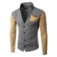 New Mens Slim Fit Fashion Coat Leisure V-Neck Splice Jacket Autumn Overcoat Tops