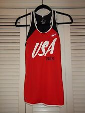 NIKE 2012 USA Running SINGLET Tank Top Razorback Track & Field Red/White/Blue M