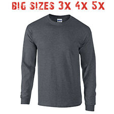 Big 3X 4X 5X Men's Long Sleeve T Shirt Plain Unisex 3XL 4XL 5XL Dark Heather