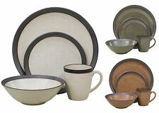16 Pc Dinnerware Set Banded Stoneware Service For 4 Round Dinner Serving Plates