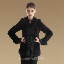 New!100% Real Genuine Knitted Rabbit Fur Coat Raccoon Fur collar Jacket Outwear