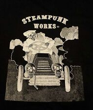 STEAMPUNK WORKS® TEE SHIRT SKELETON DRIVING AUTOMOBILE VICTORIAN T-SHIRT
