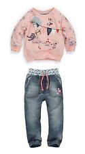 Girl Spring Long Pink Cute Sweet Casual Top+Demin Jeans Outfit Cloth Set Age 2-7