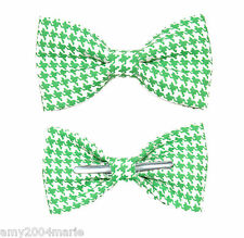 Green / White Houndstooth Clip On Bow Tie Bowtie Adult / Boys
