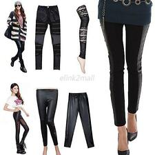 Fashion Women Sexy Faux Leather Lace Deco Leggings Stretchy Tight Pants Trousers