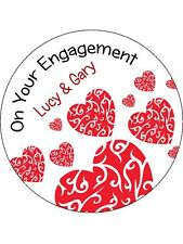 30-90 PRE-CUT EDIBLE WAFER CUP CAKE TOPPERS ENGAGEMENT ANY TWO NAMES LOVE HEART