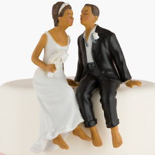 Whimsical Sitting Bride and Groom Wedding Cake Topper African American