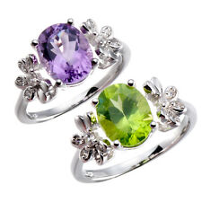 NEW NATURAL GEMSTONES & WHITE ZIRCON SOLID 925 STERLING SILVER RING FOR WOMENS