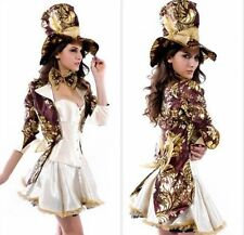 Sexy Womens Deluxe Mad Hatter Tea Party Alice In Wonderland Fancy Dress Costume