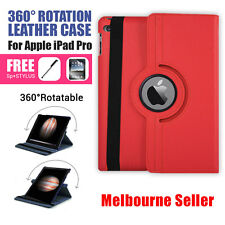 Red 360 Rotation Durable Stand Smart Leather Case for Apple iPad Pro