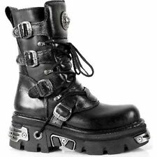 New Rock 373 S4 Metallic Boots Black Leather Gothic  Biker Emo Fashion All Size