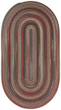 Capel Rugs Portland Wool Casual Country Braided Oval Throw Rug Black #300