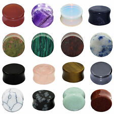 """Pair Organic Natural Stone Ear Gauges Ear Plugs Double Flared  Piercing 2g-5/8"""""""